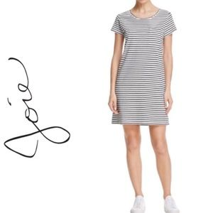 Joie Tee Dress Black And White Striped